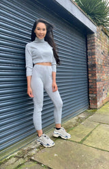 Grey Rib Knit Turtle Neck Crop Top & Legging Lounge Set