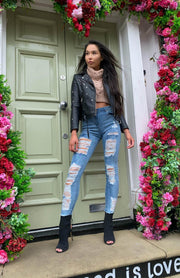 Denim Multi Rip High Waisted Skinny Jeans