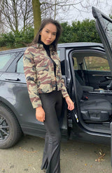 Camouflage Button Front Mid Length Jacket