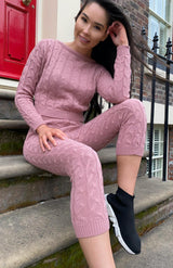 Pink Cable Knit Long Sleeve Cropped Top & Legging Loungewear Set