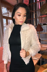 Beige Zip Front Shaggy Fur Cropped Bomber Jacket