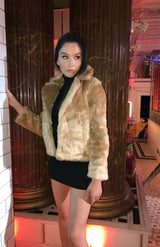 Camel Short Length Faux Fur Bomber Jacket