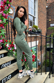 Khaki Green Pocket Detail Top & Joggers Co Ord Set