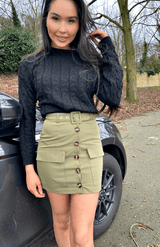 Button Front Patch Pocket Belted Mini Skirt