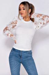 White Mesh Sleeve Detail High Neck Top