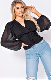 Black Mesh Sleeve Wrap Top