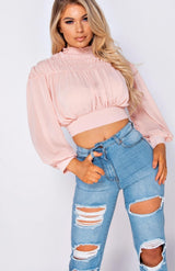 Pink High Neck Tie Back Puff Sleeve Crop Top