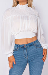 White High Neck Tie Back Puff Sleeve Crop Top