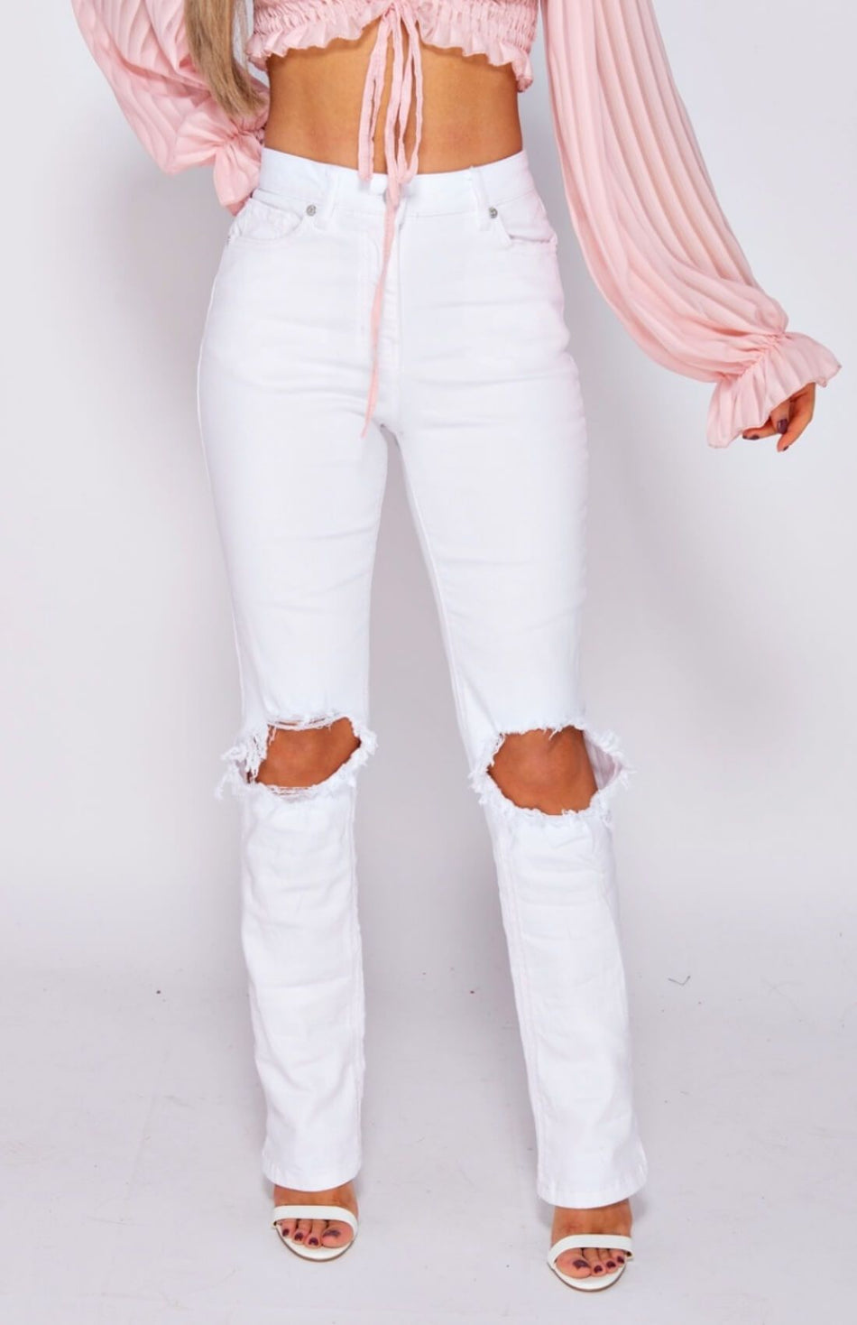 White Ripped Knee Detail High Waist Jeans