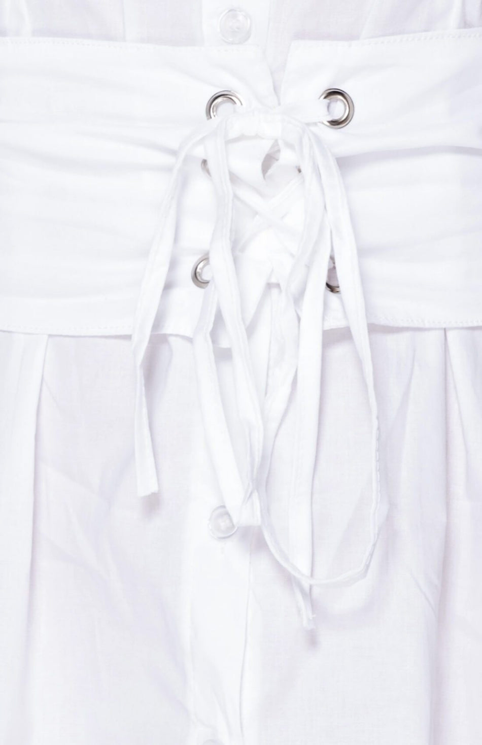 White Long Sleeve Belted Shirt Dress
