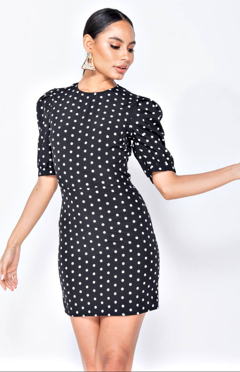 Black Polka Dot Puff Sleeve Mini Dress