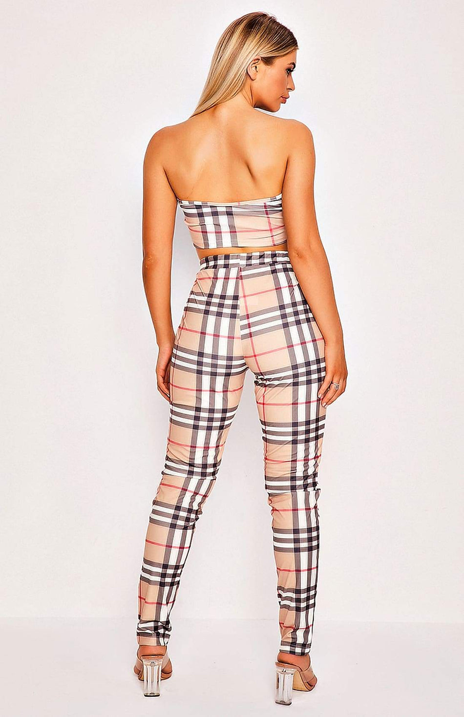 Beige Check Print Two Piece Top & Trouser Set