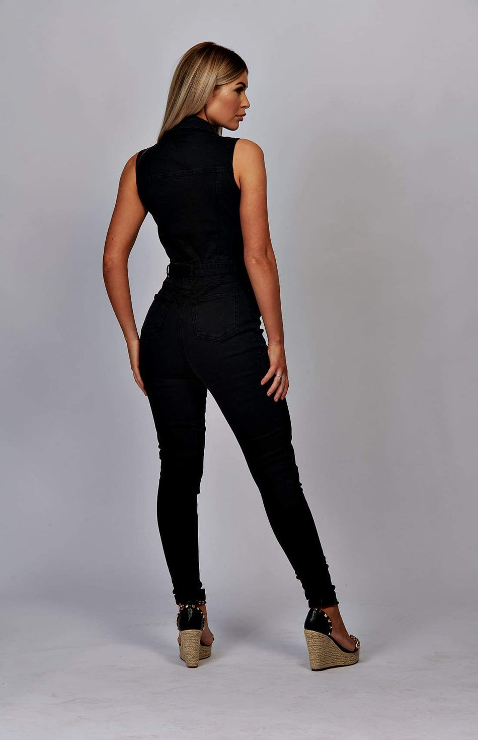 Black Button Up Denim Waist Tie Jumpsuit