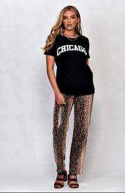 Black Chicago Print T-Shirt