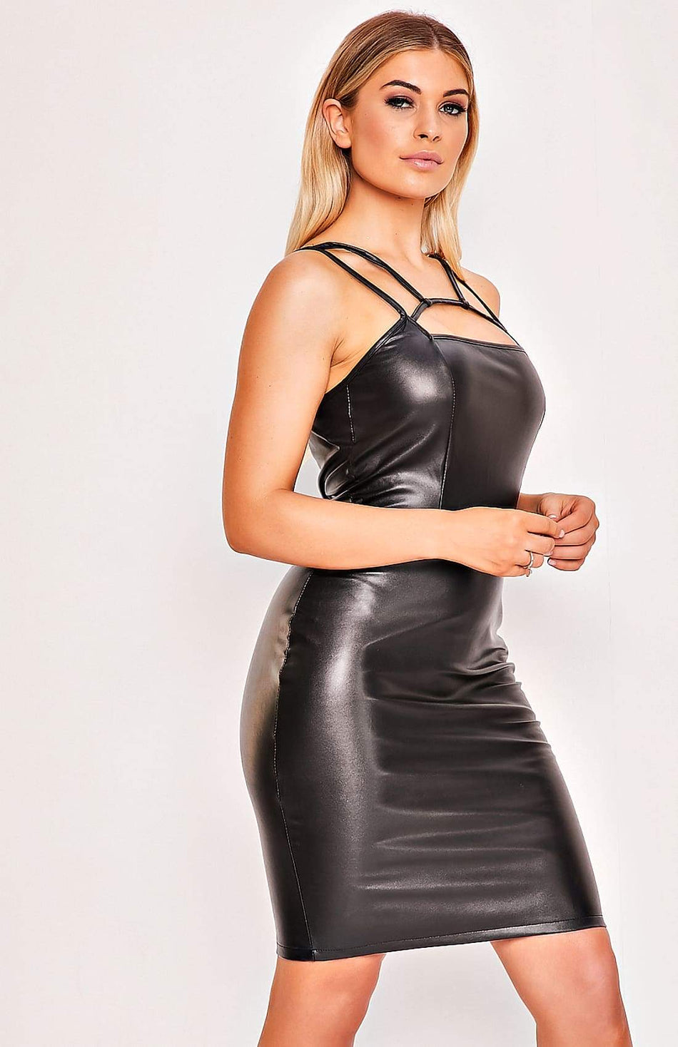 Black Faux Leather Sleeveless Sling Backless Mini Dress
