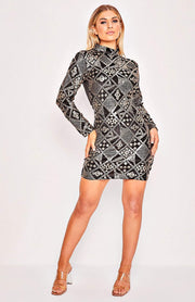 Black & Gold Velvet Geometric Design Bodycon Dress