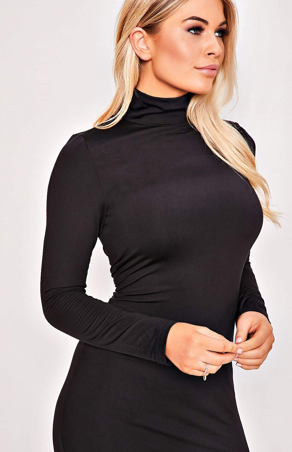 Black High Collar Long Sleeve Stretch Midi Dress