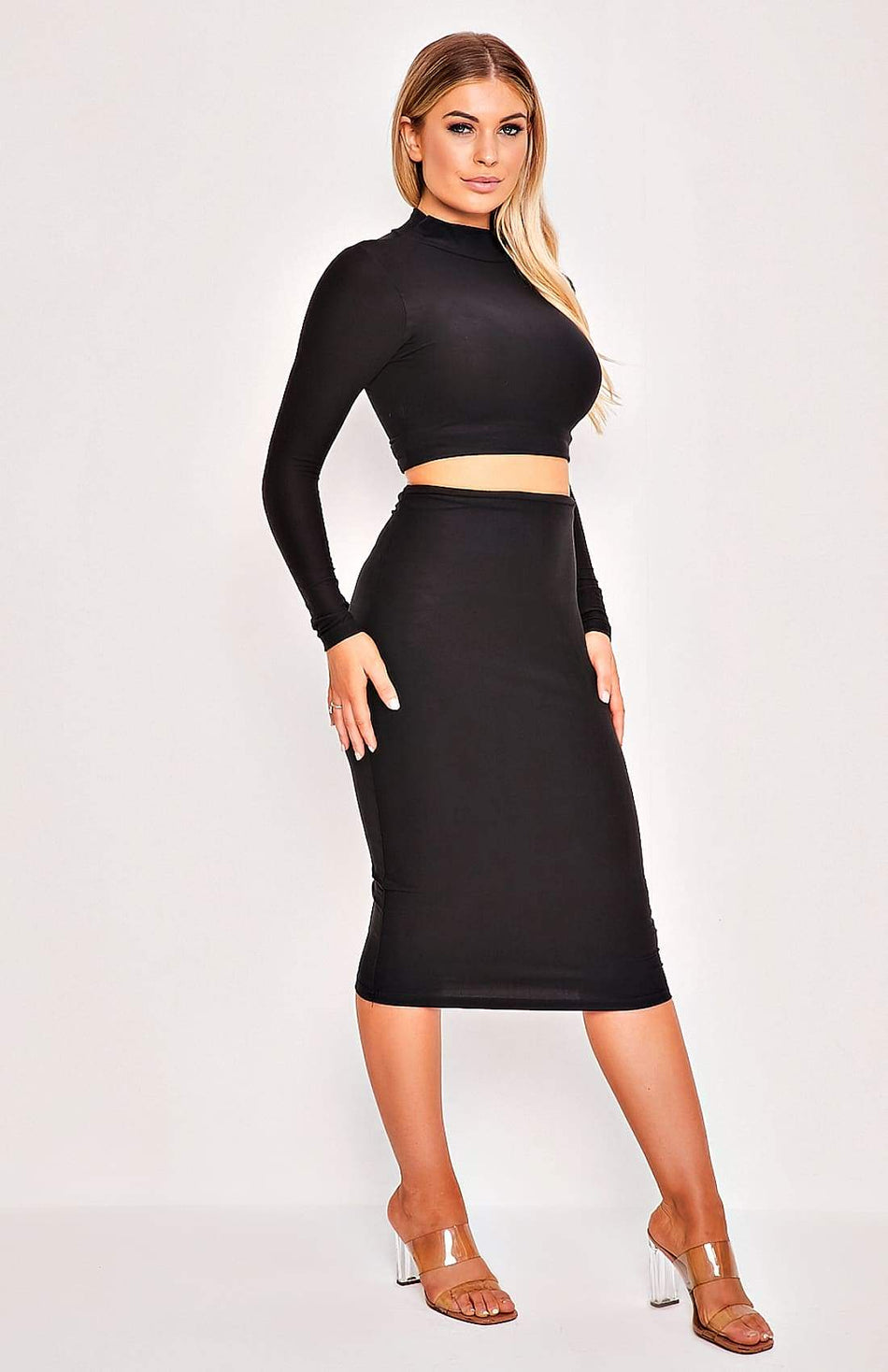 Black High Neck Long Sleeve Two Piece Top & Skirt Set