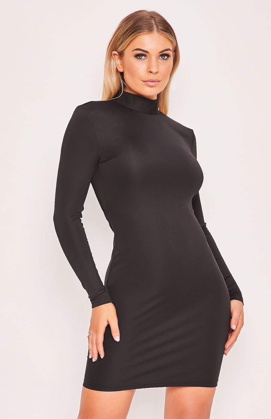 Black Long Sleeve Open Back High Neck Bodycon Dress