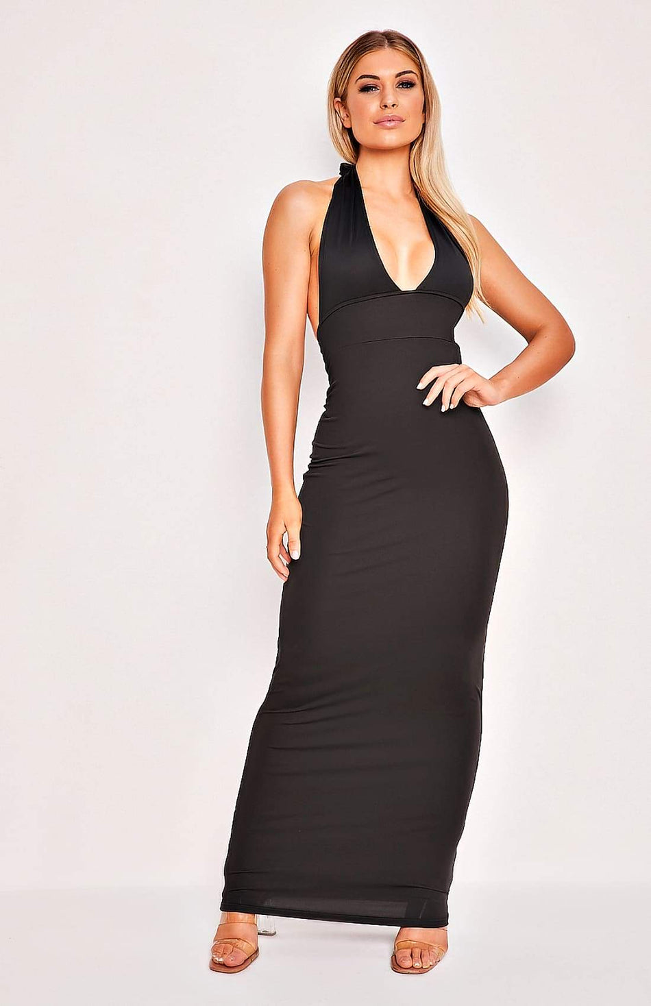 Black Open Back Deep V Halter Neck Maxi Dress