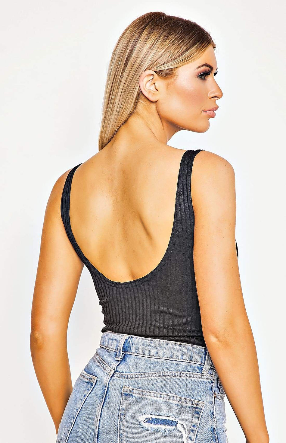 Black Rib Knit Scoop Neck And Back Bodysuit