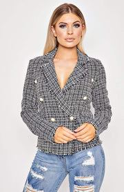 Black Tweed Check Frayed Edge Button Up Blazer