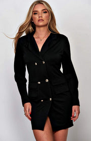 Black V-Neck Long Sleeve Bodycon Blazer Dress