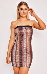 Brown/Gold Print Sleeveless Sheath Bodycon Dress