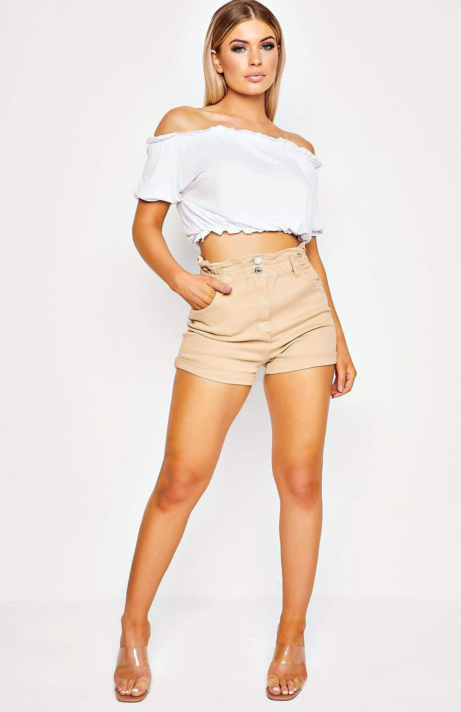 Camel High Waisted Turn Up Detail Denim Shorts