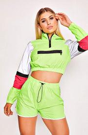 Green Reflective Pocket Front Two Piece Playsuit