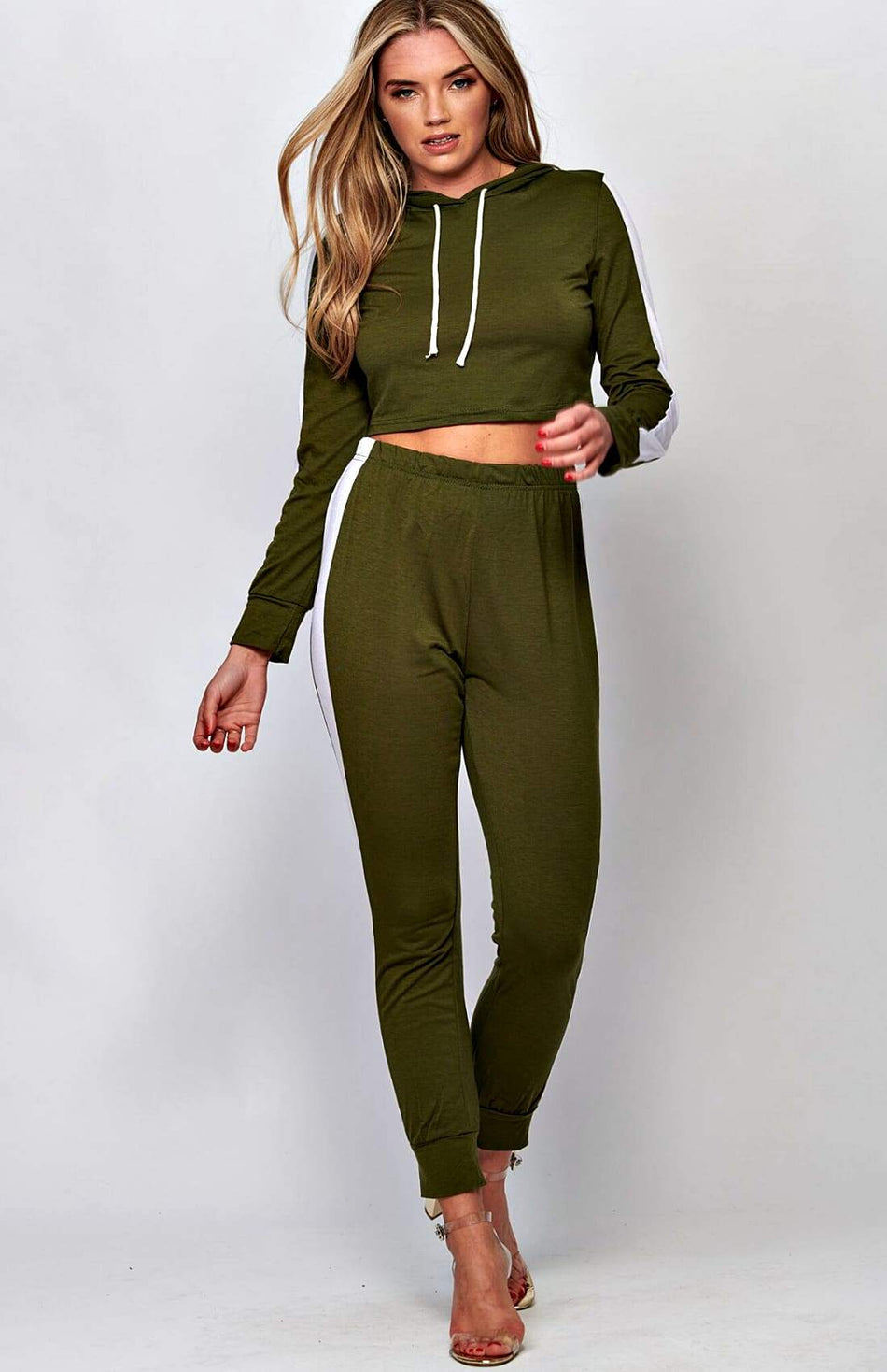 Green Side Striped Cropped Tracksuit