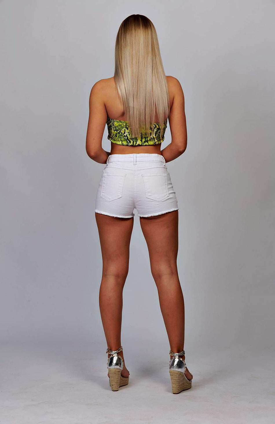 Green Snake Print Bandeau Crop Top