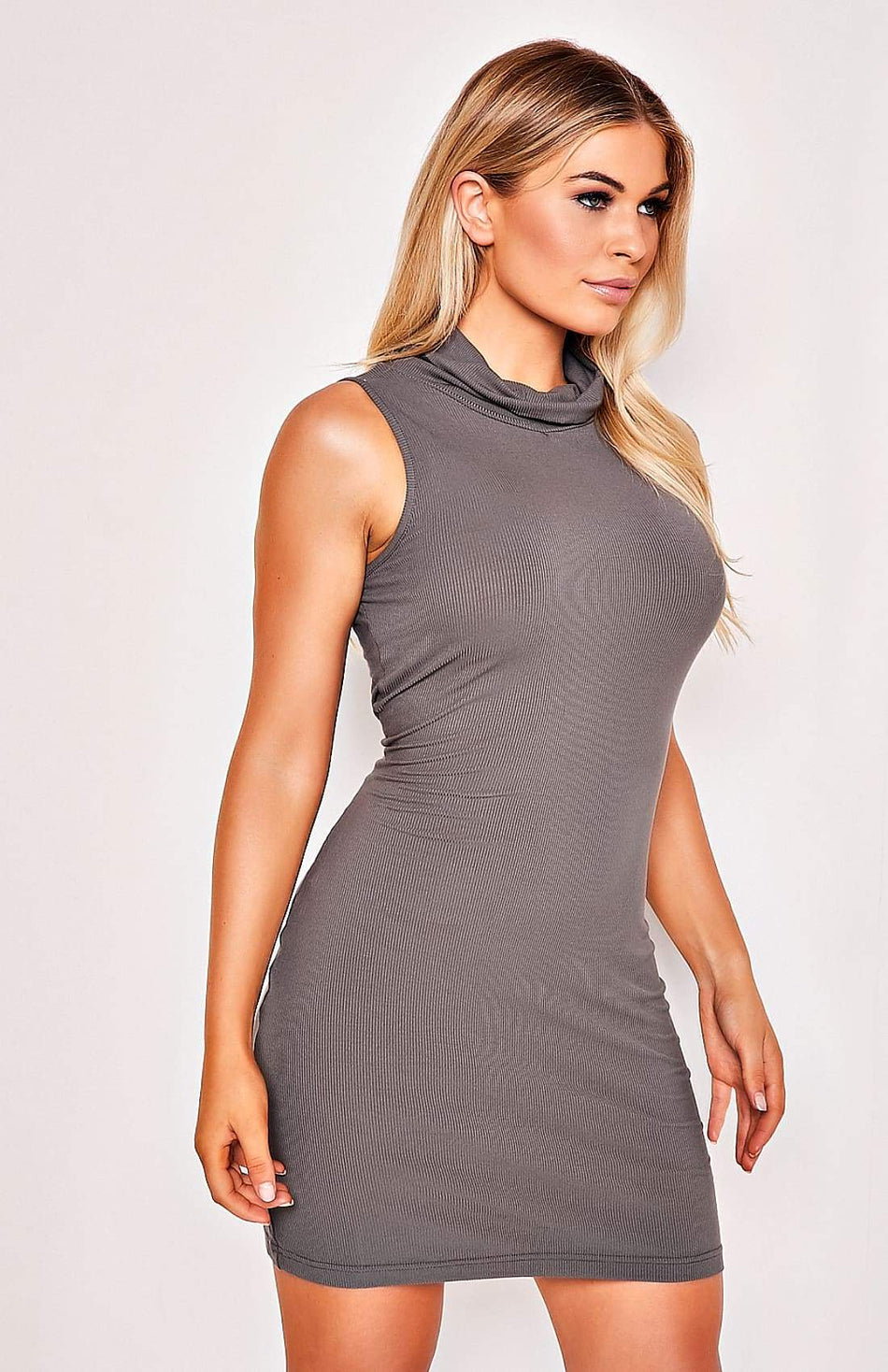 Grey High Collar Sleeveless Stretch Mini Dress