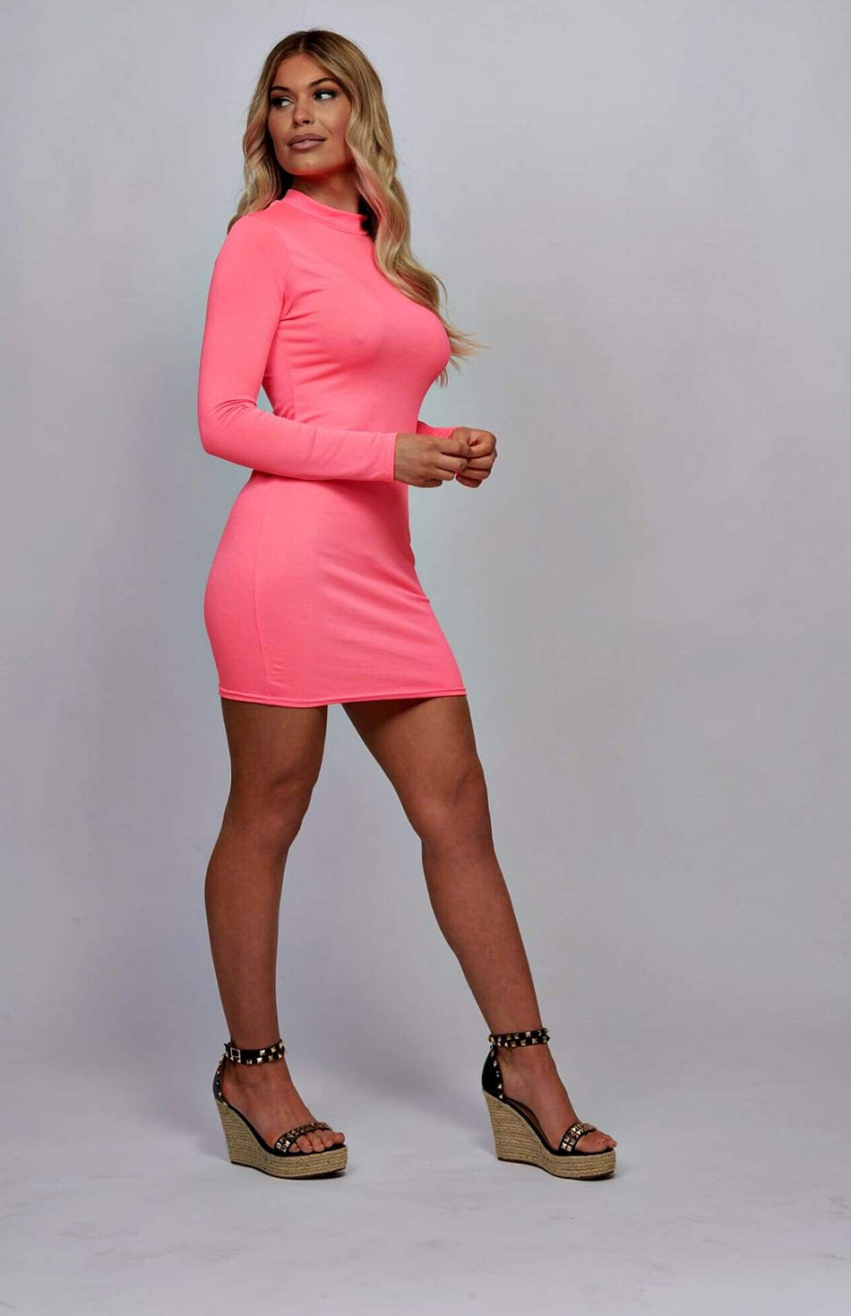 Neon Pink High Neck Long Sleeve Bodycon Mini Dress