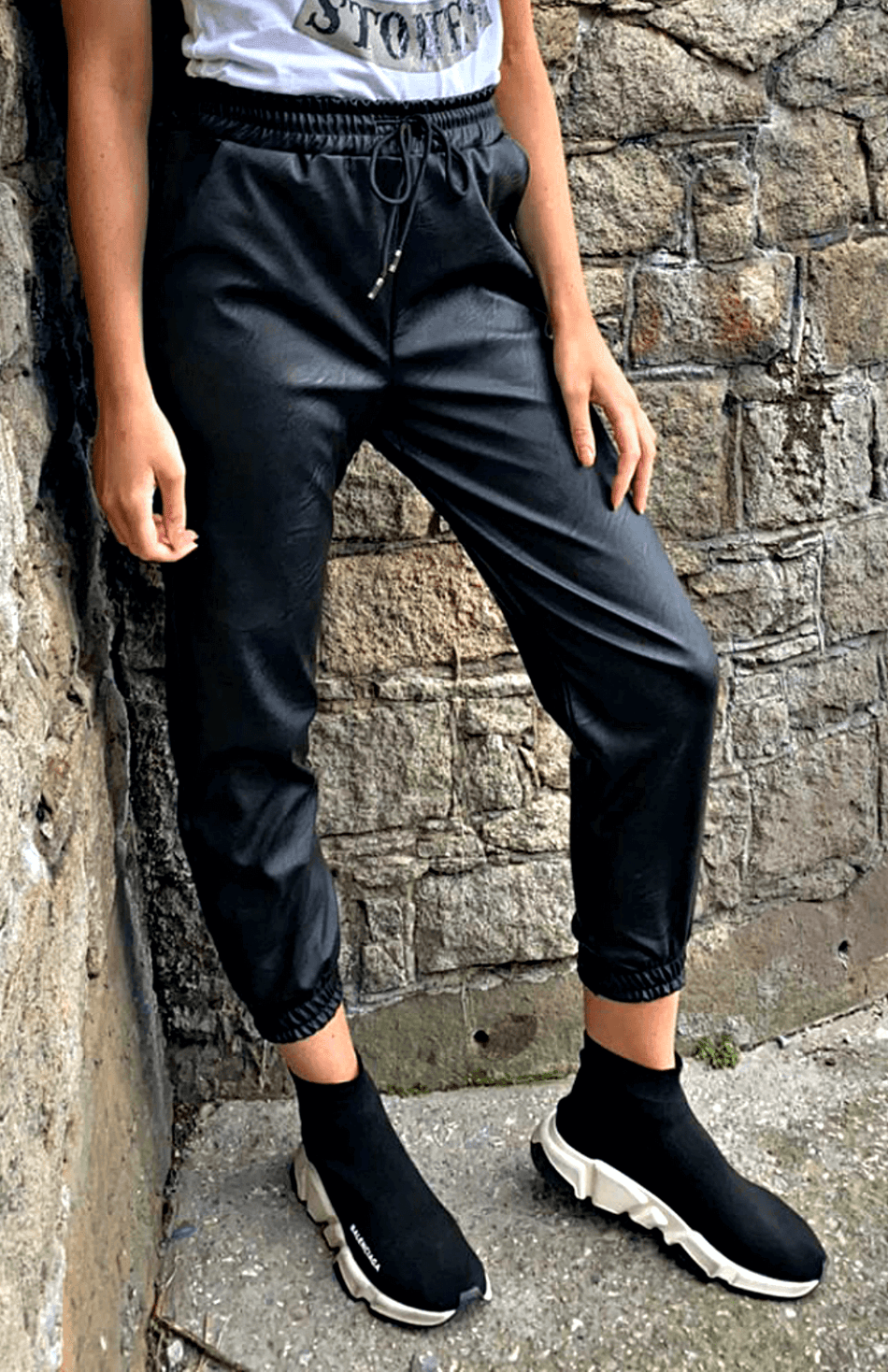 Black PU Elasticated Waist Faux Leather Joggers