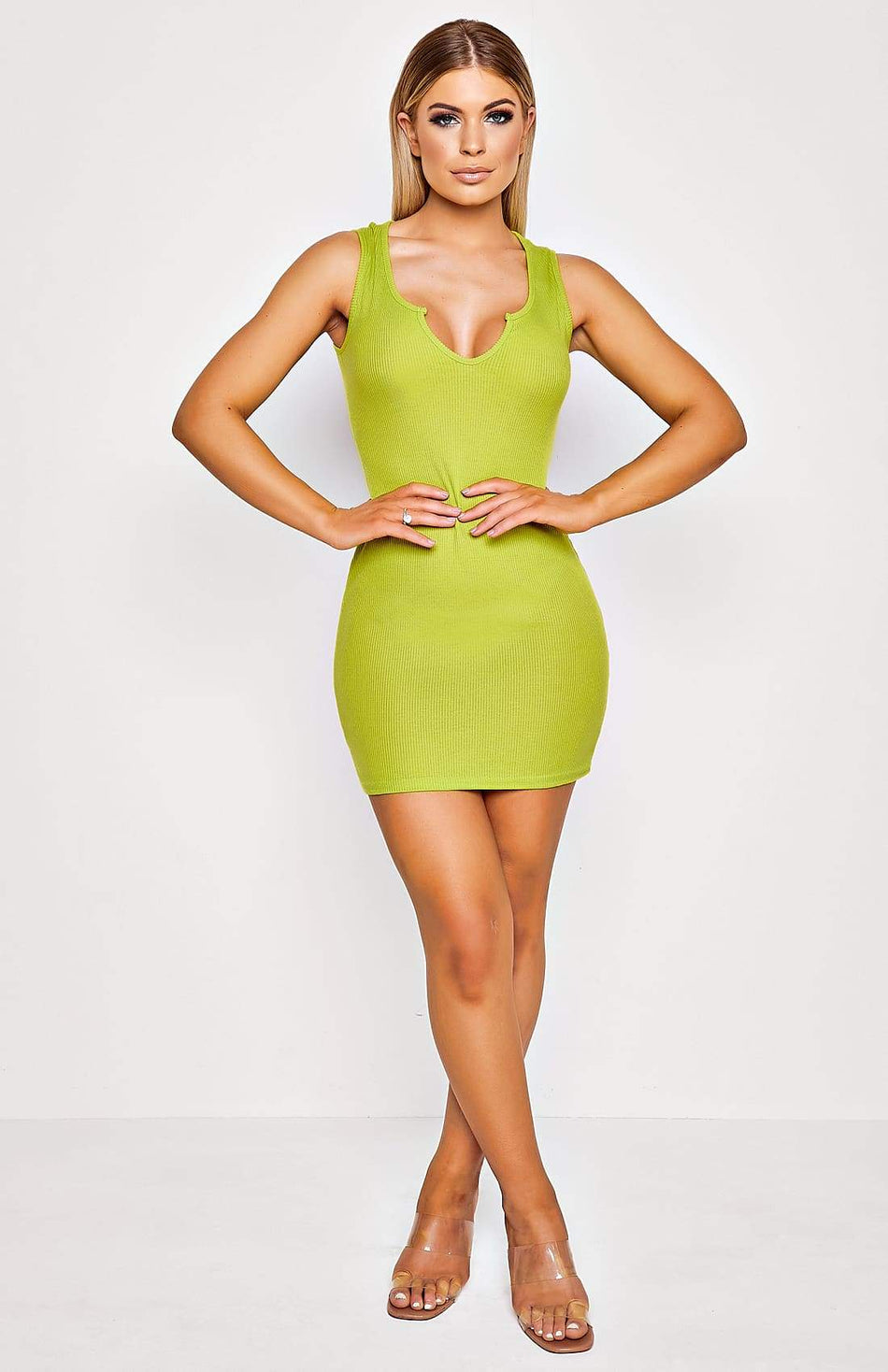 Lime Green Rib Knit Sleeveless Bodycon Dress