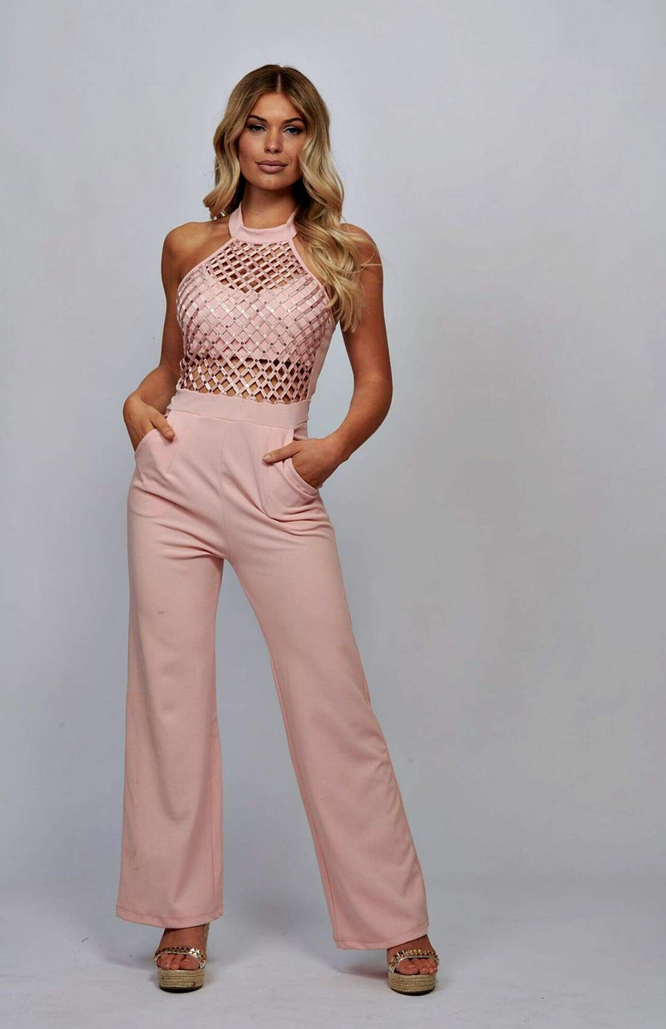 Mesh Detailed Jumpsuit