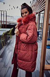 Rust Red Long Padded Quilted Fur Hooded Puffa Coat
