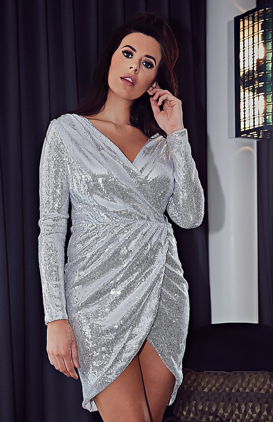 Champagne Surplice Wrap Ruched Sequins Bodycon Dress