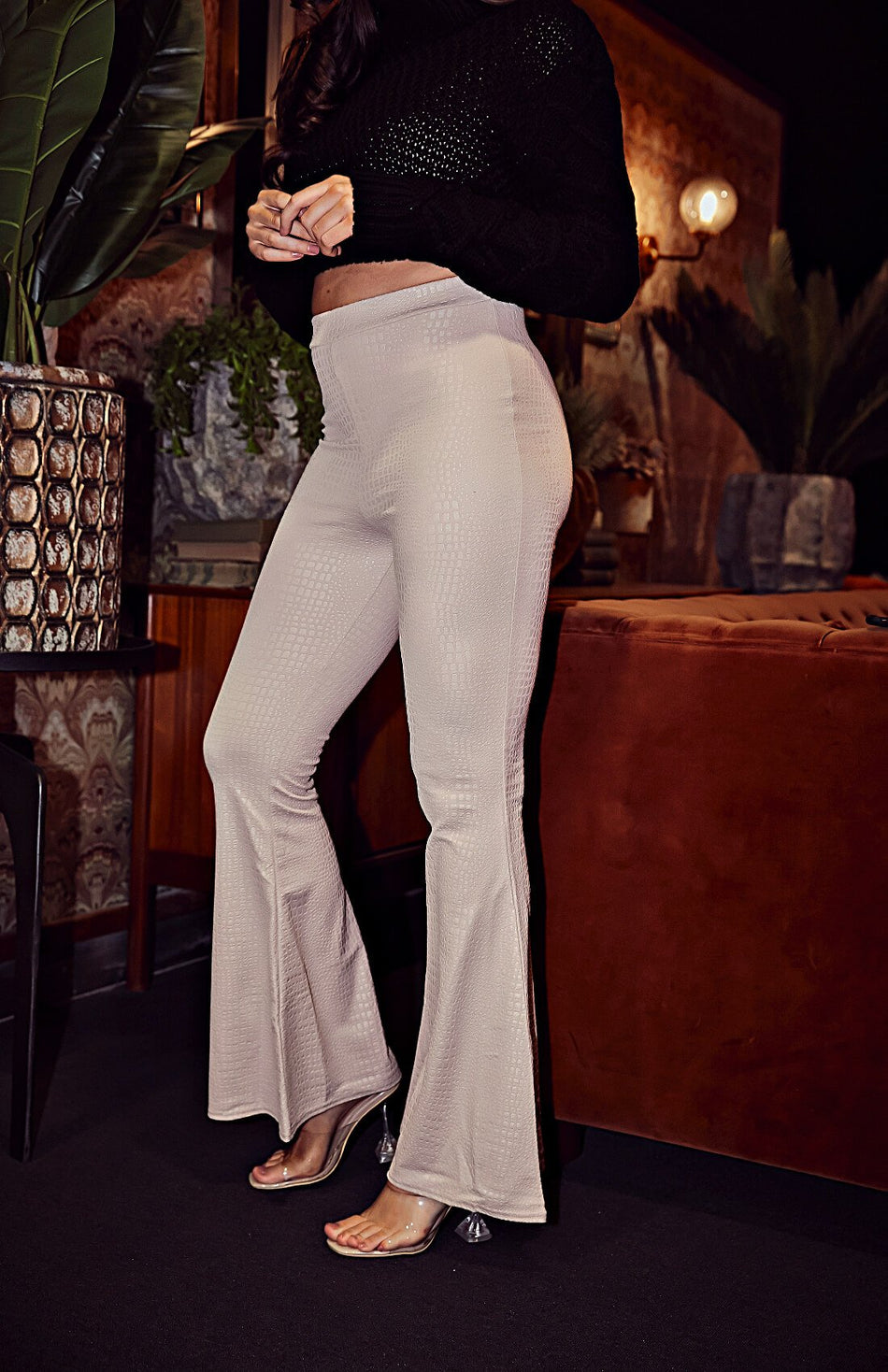 Stone Wide Ribbed Flare Trousers