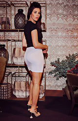 White Basic Split Mini Skirt