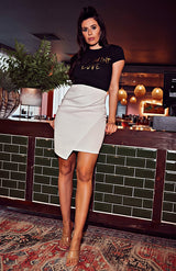 Ivory Wrap Over Pencil Mini Skirt