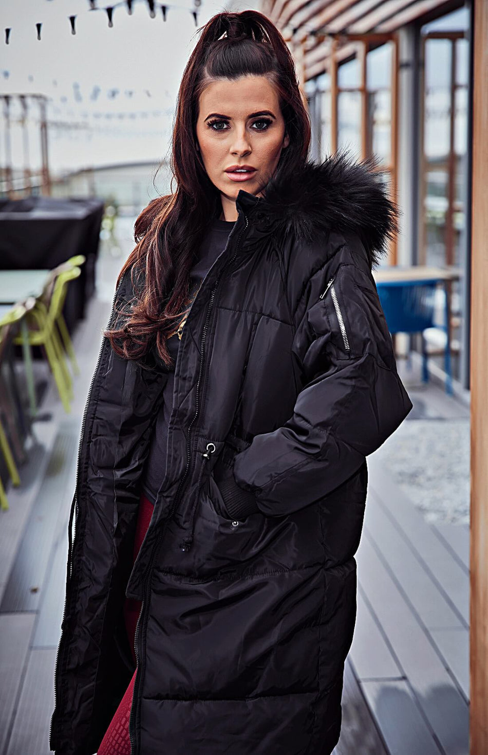 Black Long Padded Quilted Fur Hooded Puffa Coat