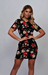 Multi Floral Short Sleeve Bodycon Mini Dress