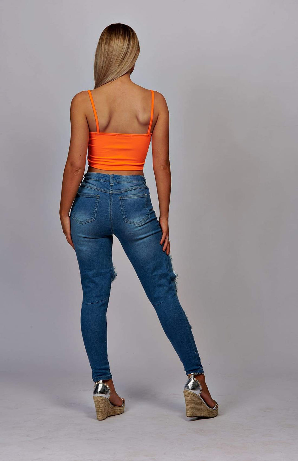 Neon Orange Bandeau Strap Crop Top