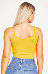 Neon Orange Rib Knit Twist Front Cami Top