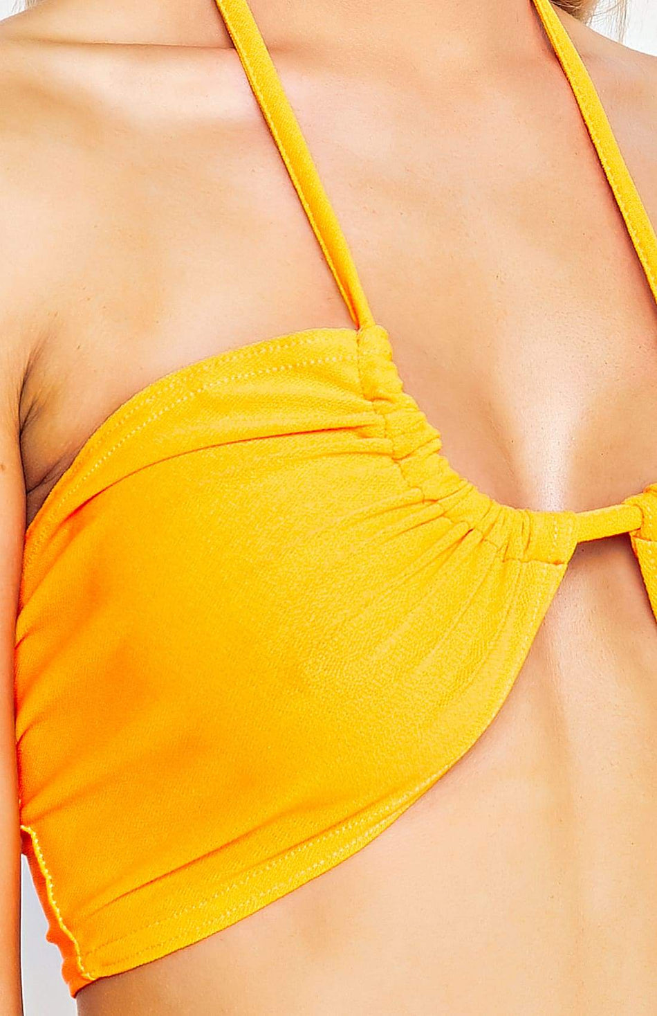 Neon Orange Ruching Tie Detail Bandeau Crop Top