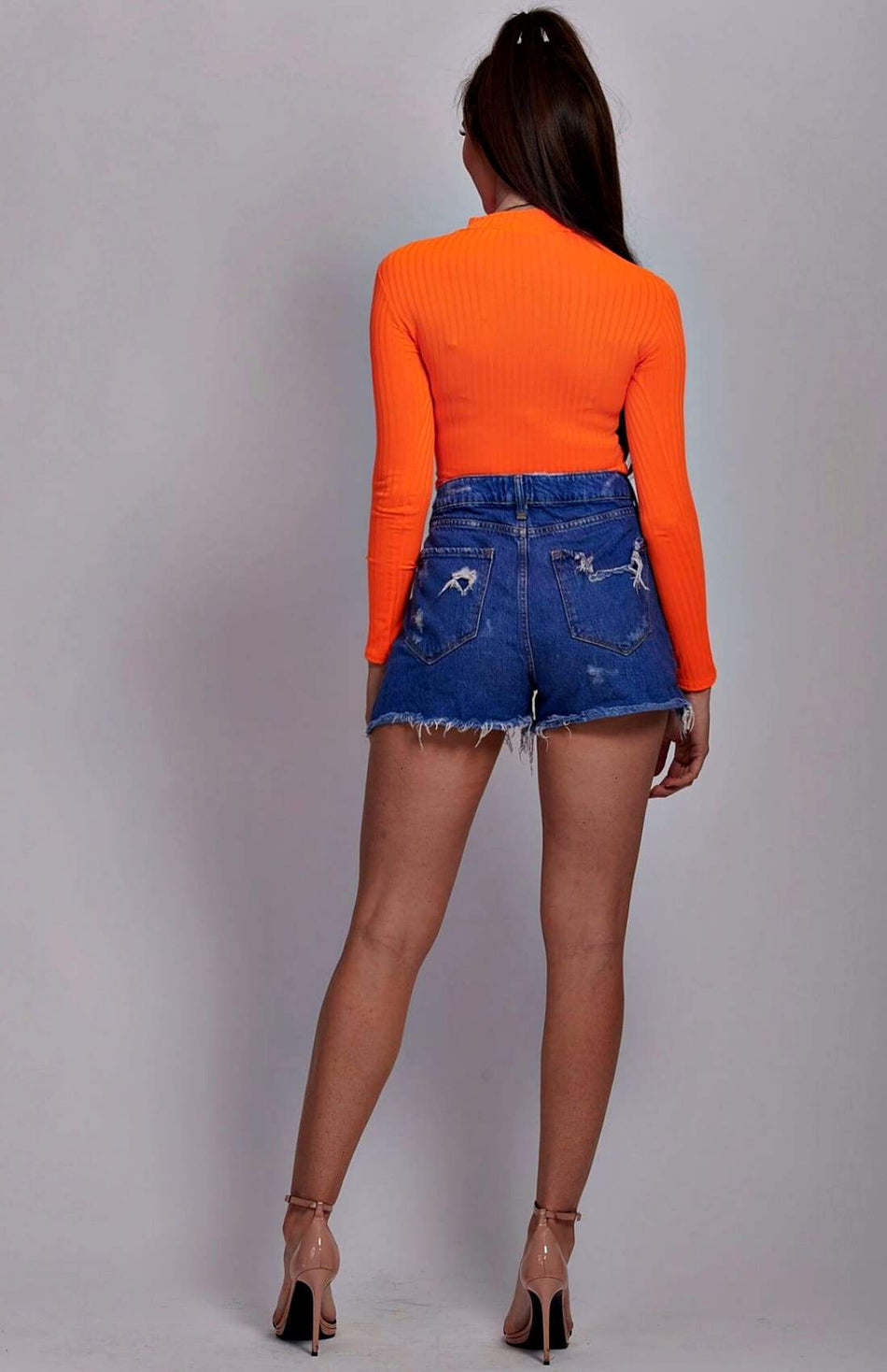 Neon Orange Skinny Rib Knit High Neck Midi Top
