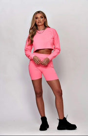 Neon Pink Bandeau Stretch Bodycon Playsuit