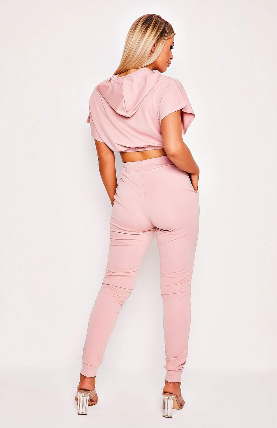 Pink Crop Top & Pants Two Piece Set